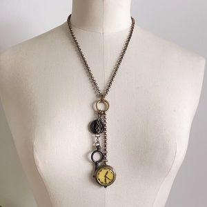 Lucky Brand Steam Punk Necklace Watch Key Snake
